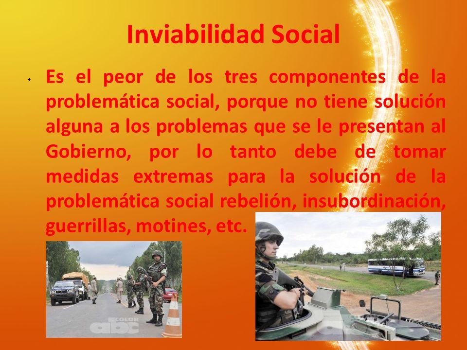 Inviabilidad Social Es el peor de los tres componentes de la problemática social, porque no tiene solución alguna a los problemas que se le presentan