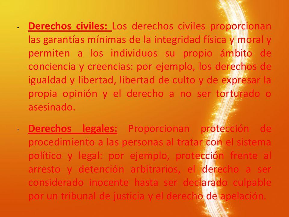 Derechos civiles: Los derechos civiles proporcionan las garantías mínimas de la integridad física y moral y permiten a los individuos su propio ámbito