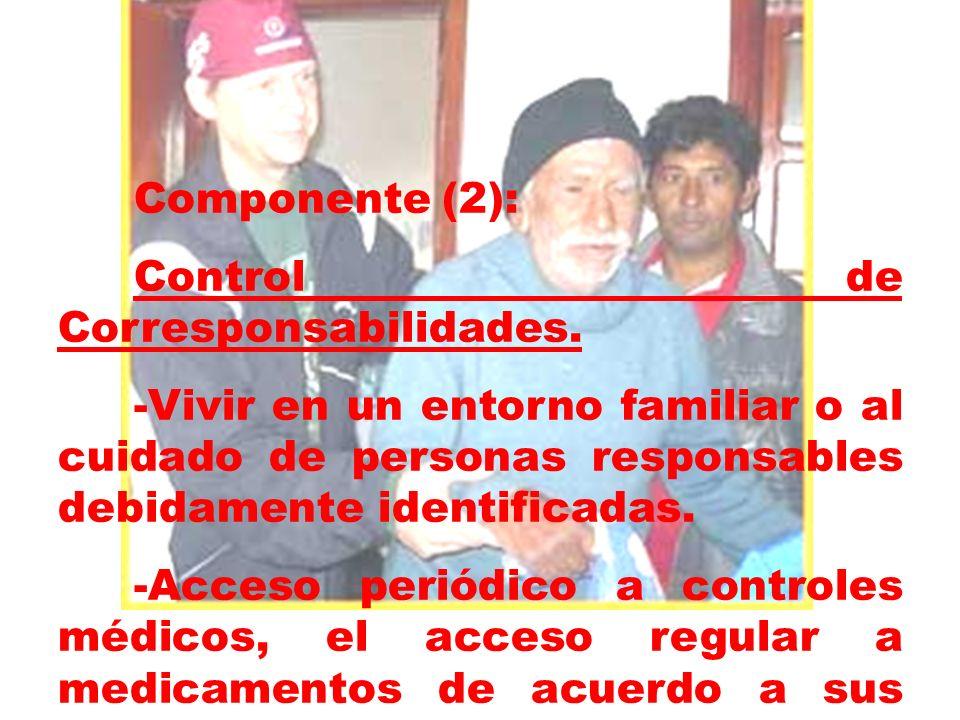 Componente (2): Control de Corresponsabilidades. -Vivir en un entorno familiar o al cuidado de personas responsables debidamente identificadas. -Acces