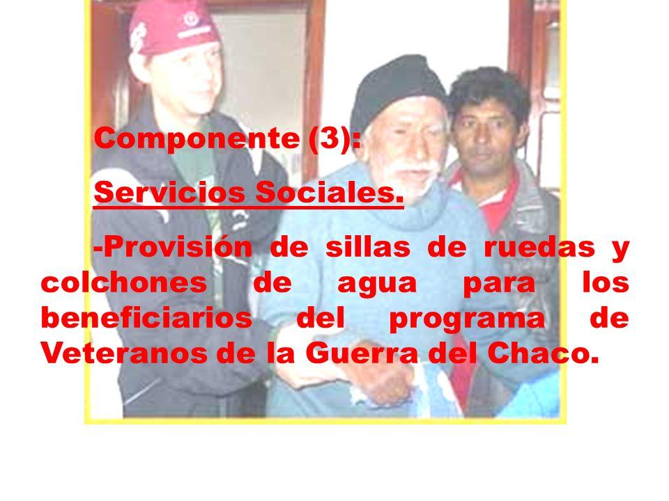 Componente (3): Servicios Sociales. -Provisión de sillas de ruedas y colchones de agua para los beneficiarios del programa de Veteranos de la Guerra d