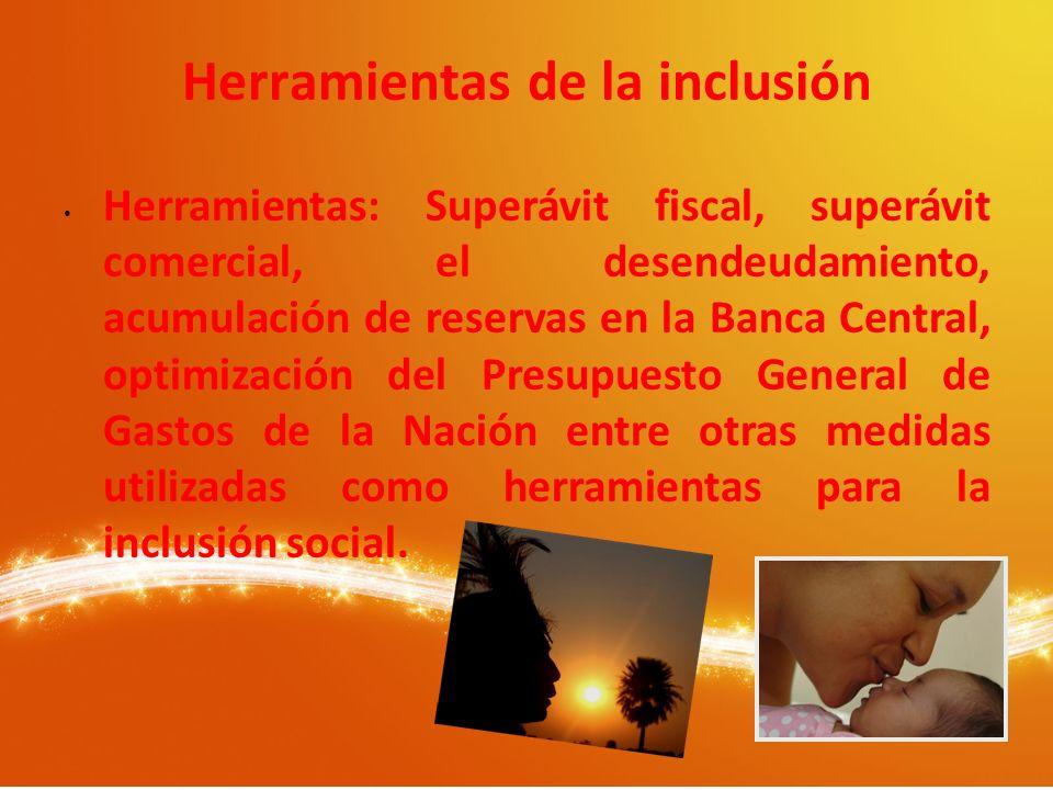 Herramientas de la inclusión Herramientas: Superávit fiscal, superávit comercial, el desendeudamiento, acumulación de reservas en la Banca Central, op
