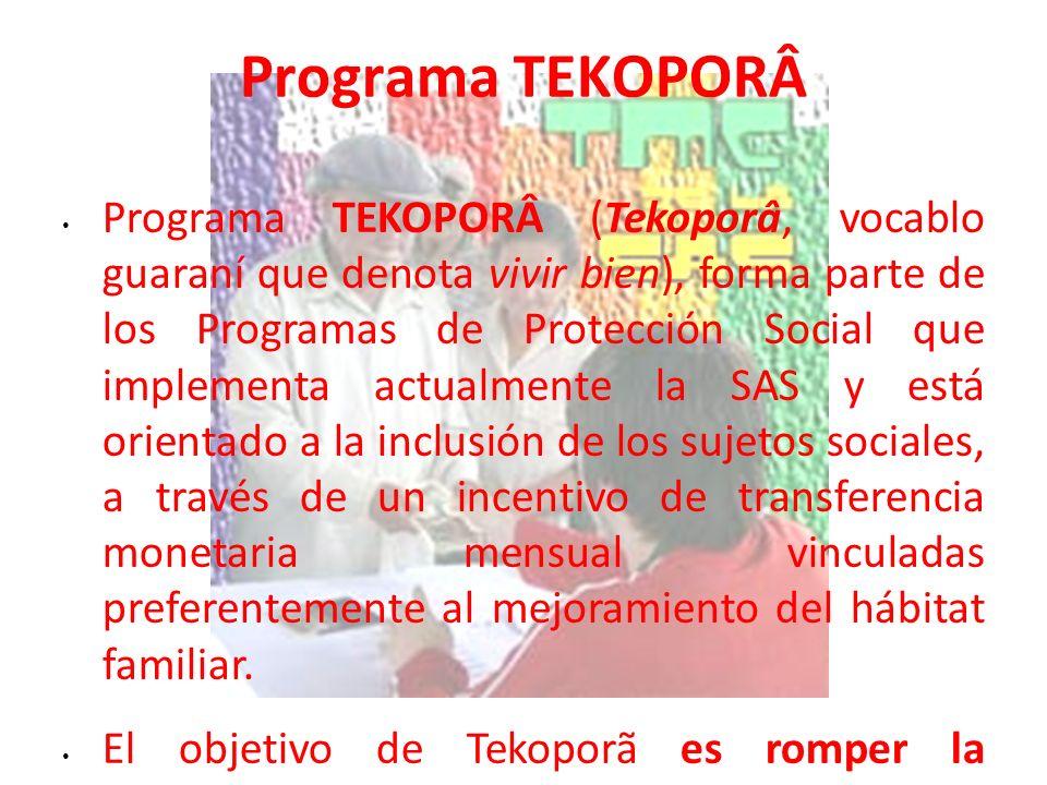 Programa TEKOPORÂ Programa TEKOPORÂ (Tekoporâ, vocablo guaraní que denota vivir bien), forma parte de los Programas de Protección Social que implement
