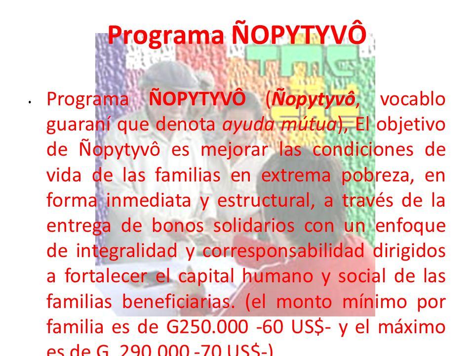 Programa ÑOPYTYVÔ Programa ÑOPYTYVÔ (Ñopytyvô, vocablo guaraní que denota ayuda mútua), El objetivo de Ñopytyvô es mejorar las condiciones de vida de