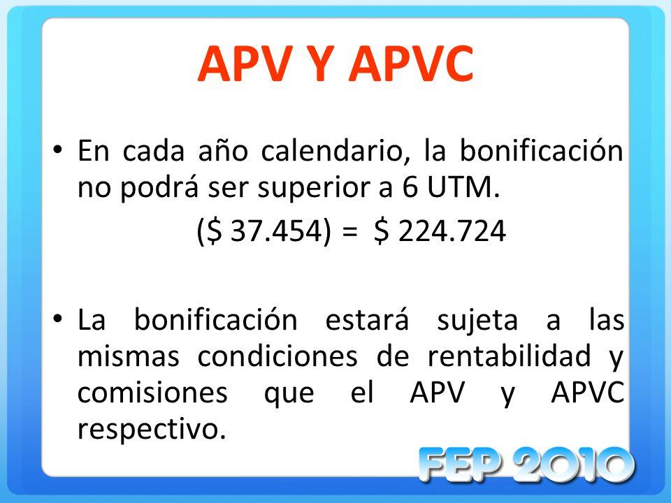 APV Y APVC En cada año calendario, la bonificación no podrá ser superior a 6 UTM. ($ 37.454) = $ 224.724 La bonificación estará sujeta a las mismas co