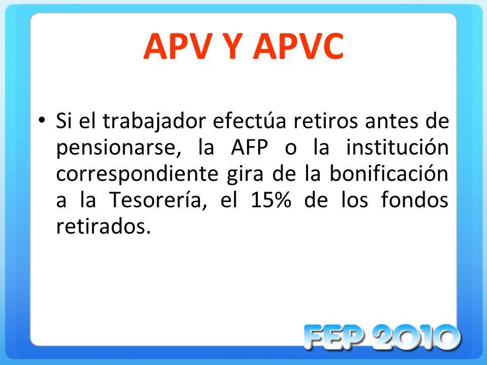 APV Y APVC Si el trabajador efectúa retiros antes de pensionarse, la AFP o la institución correspondiente gira de la bonificación a la Tesorería, el 1