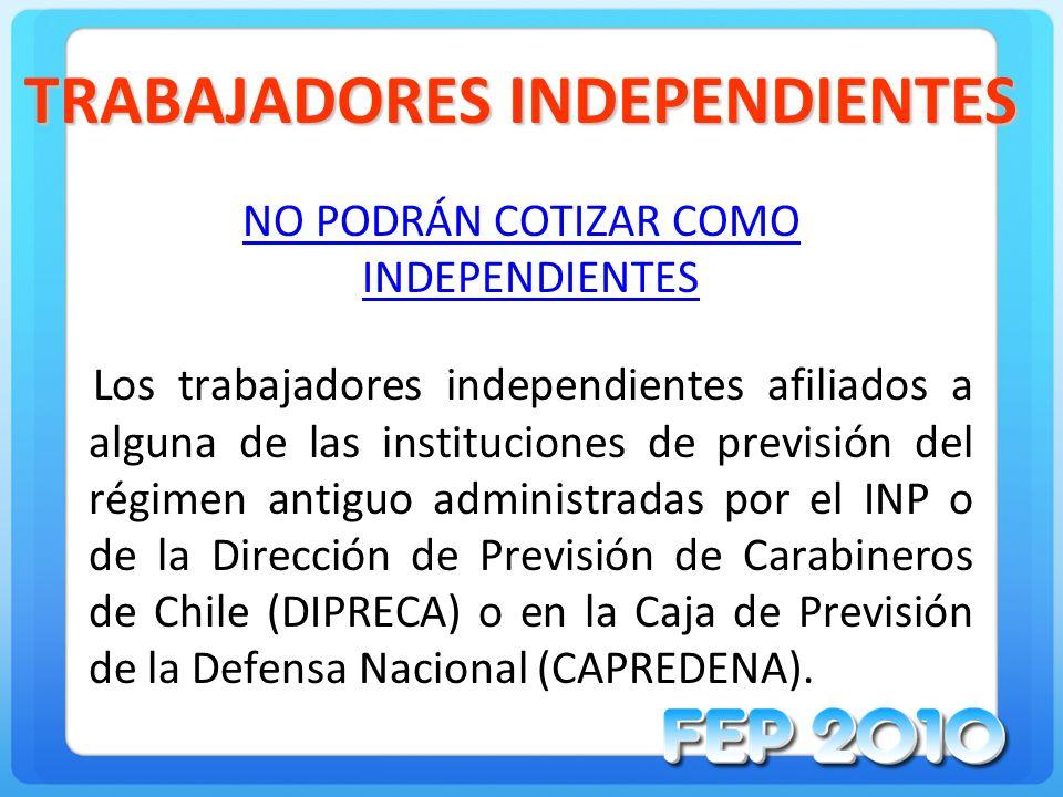 TRABAJADORES INDEPENDIENTES NO PODRÁN COTIZAR COMO INDEPENDIENTES Los trabajadores independientes afiliados a alguna de las instituciones de previsión
