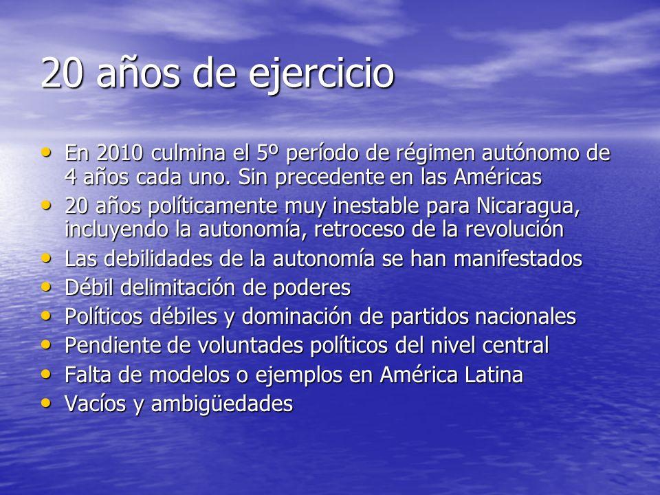 20 años de ejercicio En 2010 culmina el 5º período de régimen autónomo de 4 años cada uno.