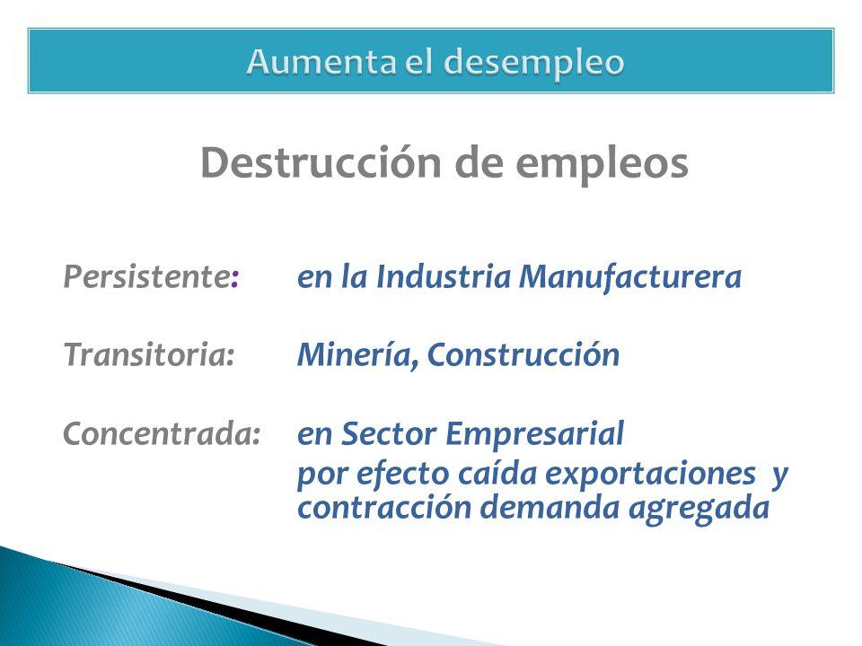 Destrucción de empleos Persistente: en la Industria Manufacturera Transitoria: Minería, Construcción Concentrada:en Sector Empresarial por efecto caída exportaciones y contracción demanda agregada