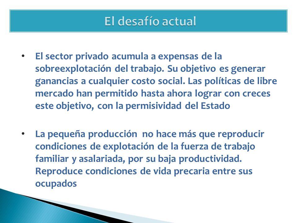 El sector privado acumula a expensas de la sobreexplotación del trabajo.