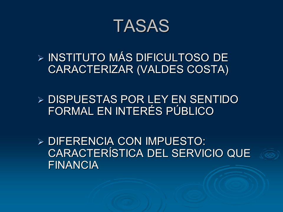 TASAS INSTITUTO MÁS DIFICULTOSO DE CARACTERIZAR (VALDES COSTA) INSTITUTO MÁS DIFICULTOSO DE CARACTERIZAR (VALDES COSTA) DISPUESTAS POR LEY EN SENTIDO