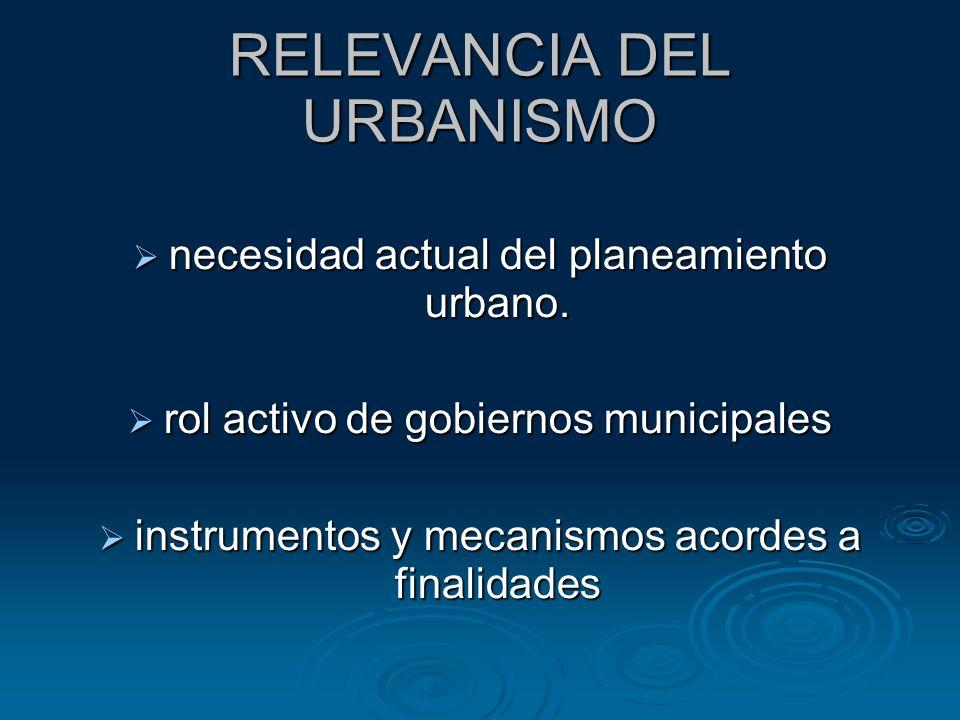 RELEVANCIA DEL URBANISMO necesidad actual del planeamiento urbano. necesidad actual del planeamiento urbano. rol activo de gobiernos municipales rol a