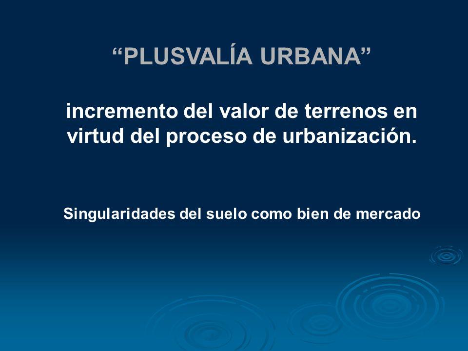 PLUSVALÍA URBANA incremento del valor de terrenos en virtud del proceso de urbanización. Singularidades del suelo como bien de mercado