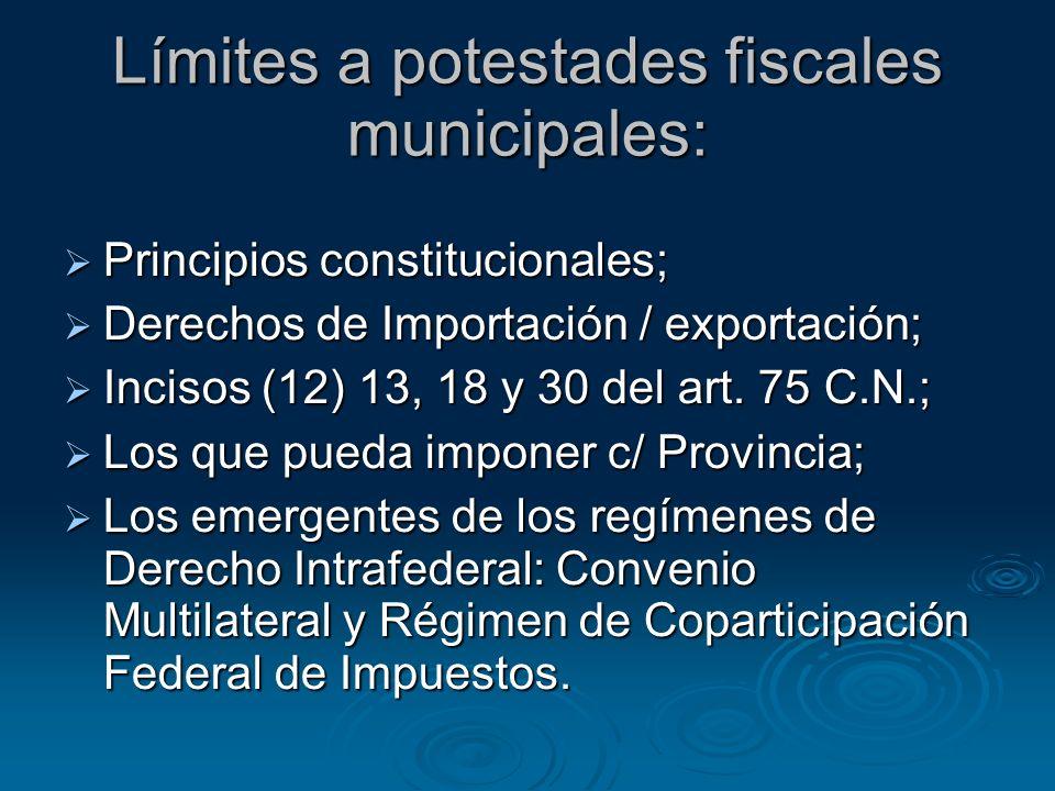 Límites a potestades fiscales municipales: Principios constitucionales; Principios constitucionales; Derechos de Importación / exportación; Derechos d