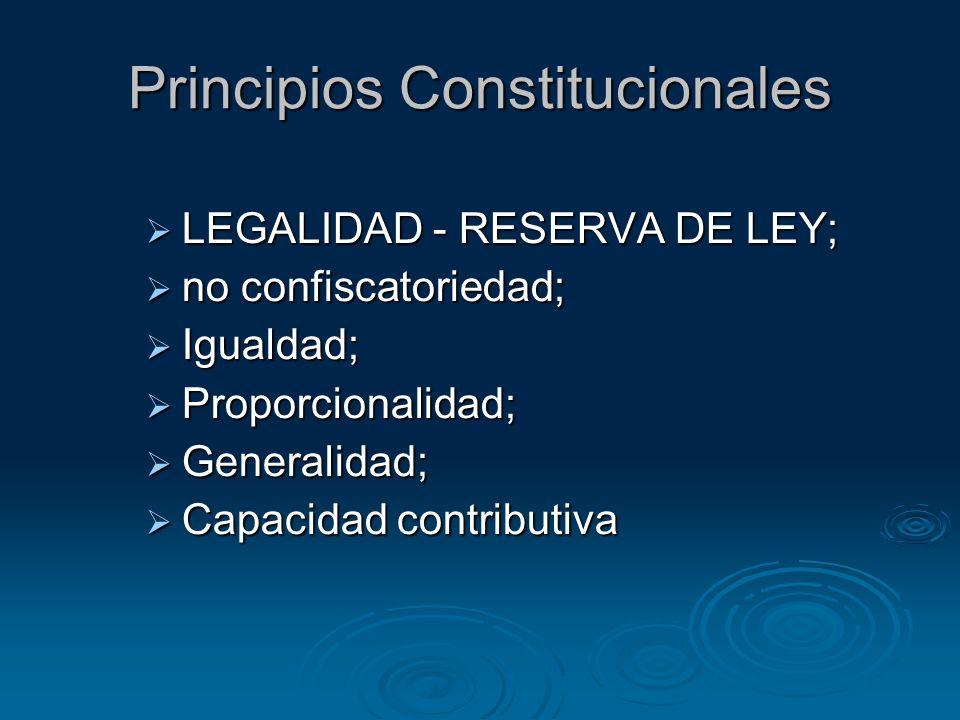 Principios Constitucionales LEGALIDAD - RESERVA DE LEY; LEGALIDAD - RESERVA DE LEY; no confiscatoriedad; no confiscatoriedad; Igualdad; Igualdad; Prop