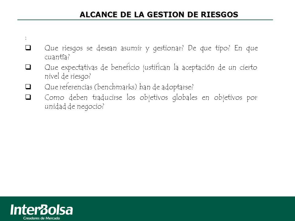 ALCANCE DE LA GESTION DE RIESGOS : Que riesgos se desean asumir y gestionar? De que tipo? En que cuantía? Que expectativas de beneficio justifican la
