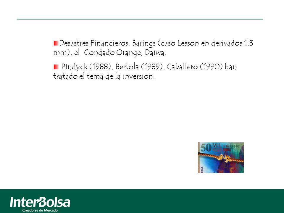 Desastres Financieros: Barings (caso Lesson en derivados 1.3 mm), el Condado Orange, Daiwa. Pindyck (1988), Bertola (1989), Caballero (1990) han trata