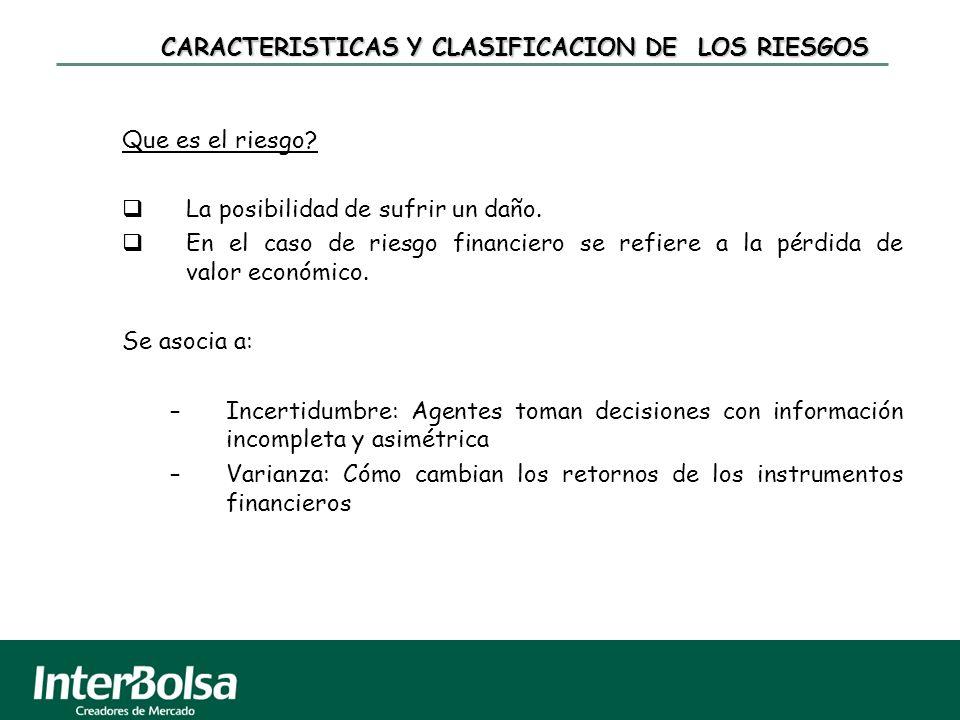 CARACTERISTICAS Y CLASIFICACION DE LOS RIESGOS Que es el riesgo? La posibilidad de sufrir un daño. En el caso de riesgo financiero se refiere a la pér