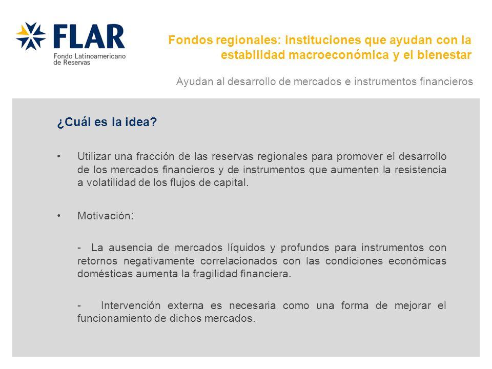 ¿Cuál es la idea? Utilizar una fracción de las reservas regionales para promover el desarrollo de los mercados financieros y de instrumentos que aumen