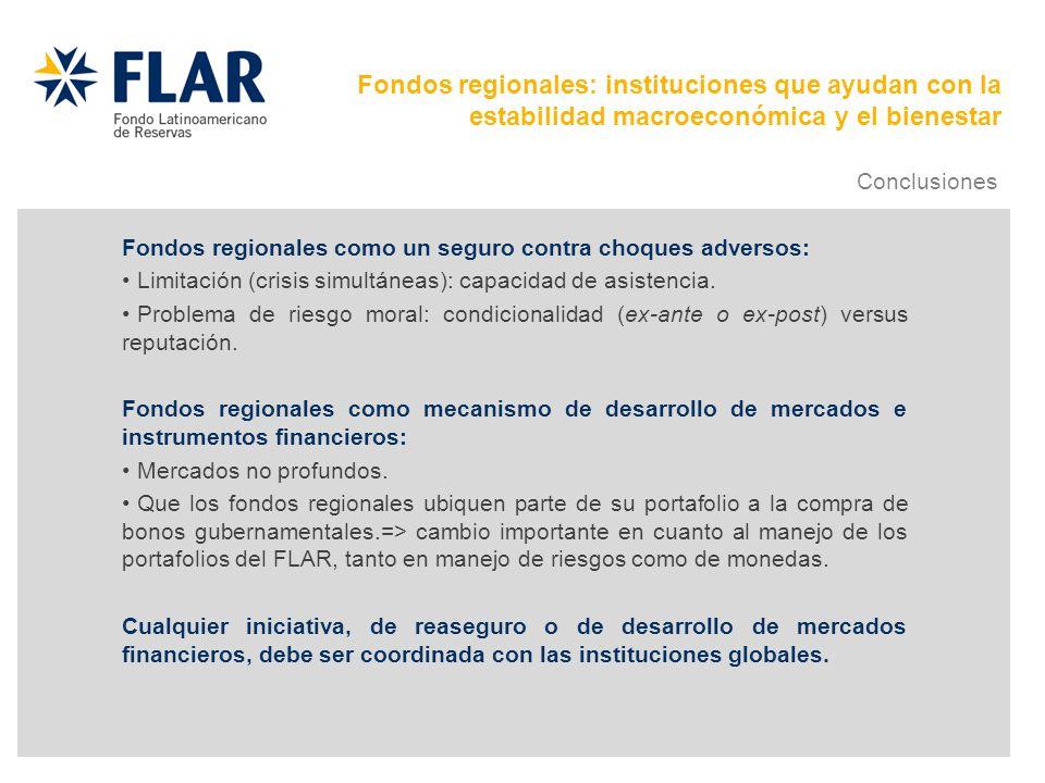 Fondos regionales como un seguro contra choques adversos: Limitación (crisis simultáneas): capacidad de asistencia. Problema de riesgo moral: condicio