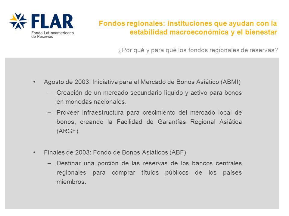 Agosto de 2003: Iniciativa para el Mercado de Bonos Asiático (ABMI) –Creación de un mercado secundario líquido y activo para bonos en monedas nacional