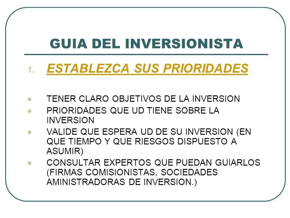 GUIA DEL INVERSIONISTA 1. ESTABLEZCA SUS PRIORIDADES TENER CLARO OBJETIVOS DE LA INVERSION PRIORIDADES QUE UD TIENE SOBRE LA INVERSION VALIDE QUE ESPE