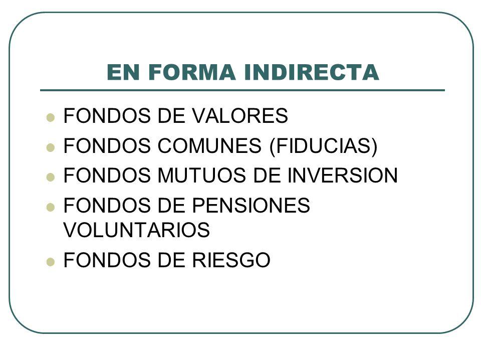 EN FORMA INDIRECTA FONDOS DE VALORES FONDOS COMUNES (FIDUCIAS) FONDOS MUTUOS DE INVERSION FONDOS DE PENSIONES VOLUNTARIOS FONDOS DE RIESGO