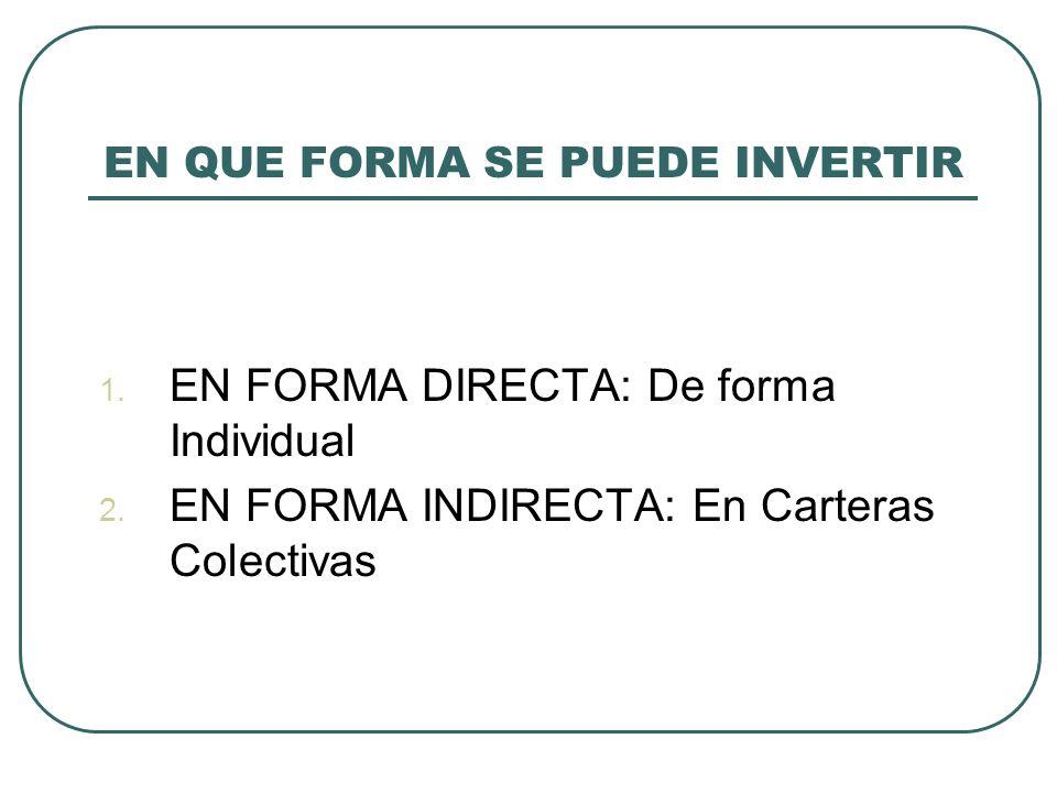 EN QUE FORMA SE PUEDE INVERTIR 1. EN FORMA DIRECTA: De forma Individual 2. EN FORMA INDIRECTA: En Carteras Colectivas