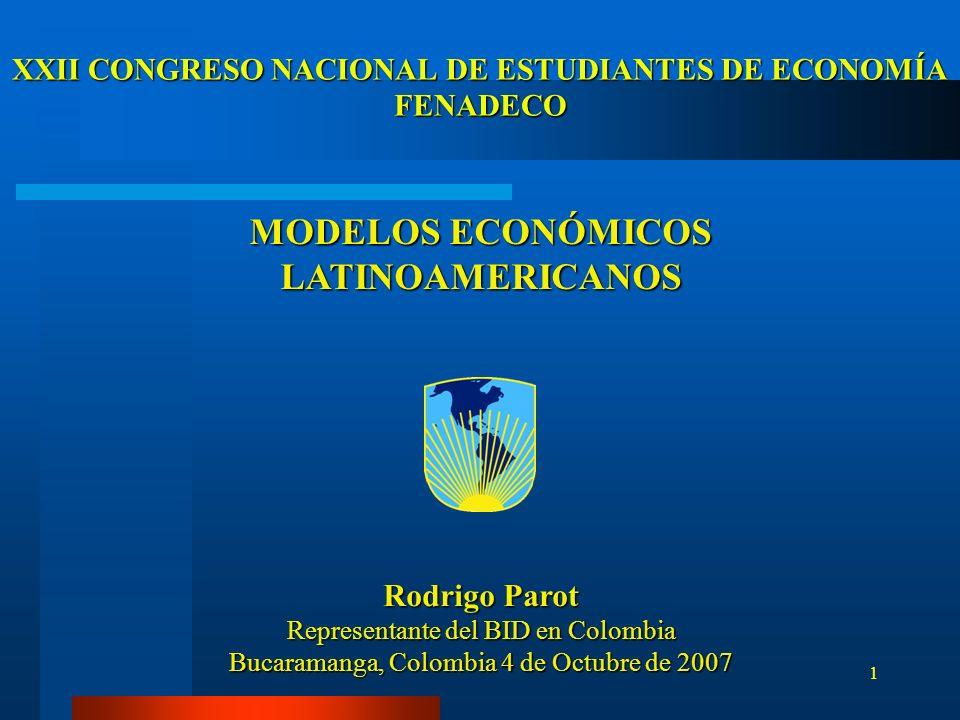 2 CONTENIDO Modelos de Desarrollo –Evolución concepto –Evolución histórica América Latina Temas Estratégicos –Procesos de cambio –Crecimiento y distribución del ingreso –Papel del Estado –Papel del Mercado –Comercio Exterior Estrategia Colombia Estrategia BID