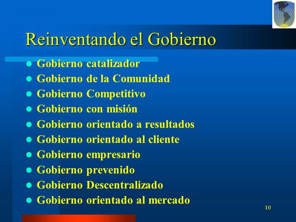 10 Reinventando el Gobierno Gobierno catalizador Gobierno de la Comunidad Gobierno Competitivo Gobierno con misión Gobierno orientado a resultados Gob