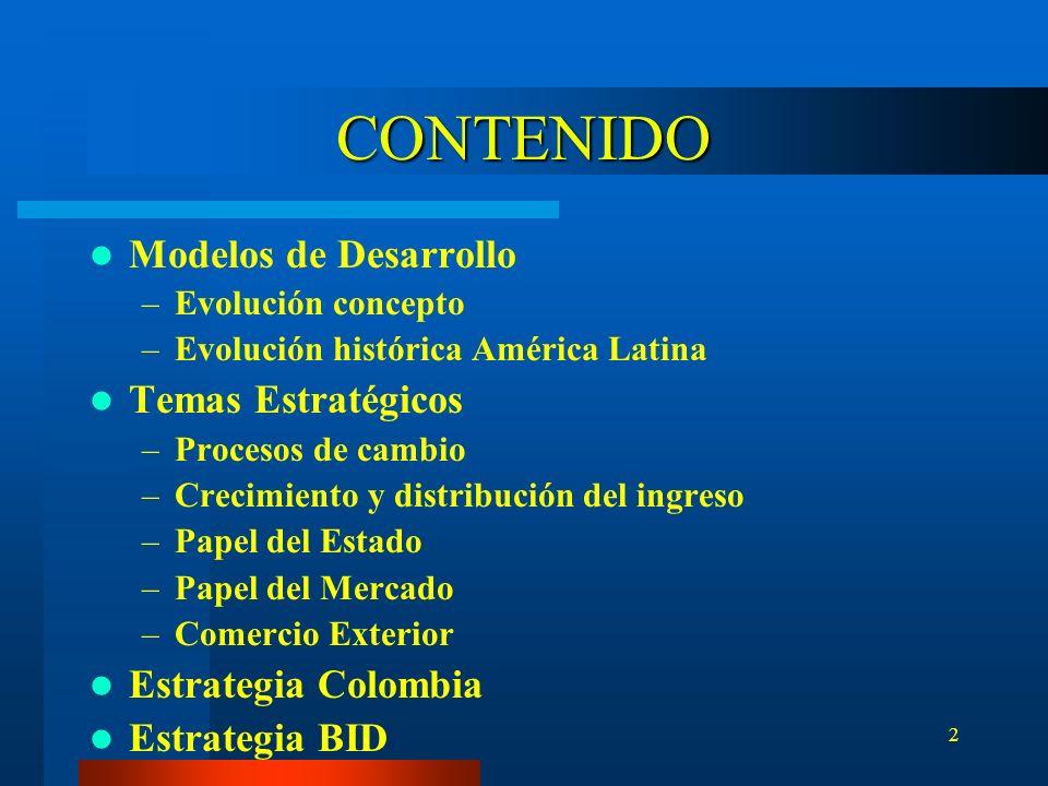 2 CONTENIDO Modelos de Desarrollo –Evolución concepto –Evolución histórica América Latina Temas Estratégicos –Procesos de cambio –Crecimiento y distri