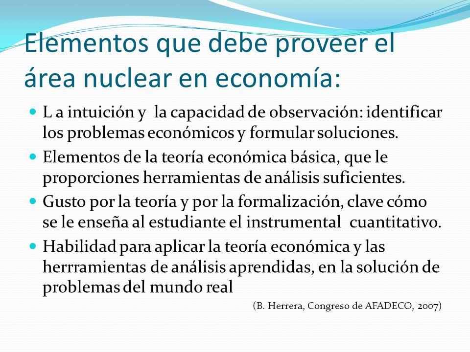 Elementos que debe proveer el área nuclear en economía: L a intuición y la capacidad de observación: identificar los problemas económicos y formular s