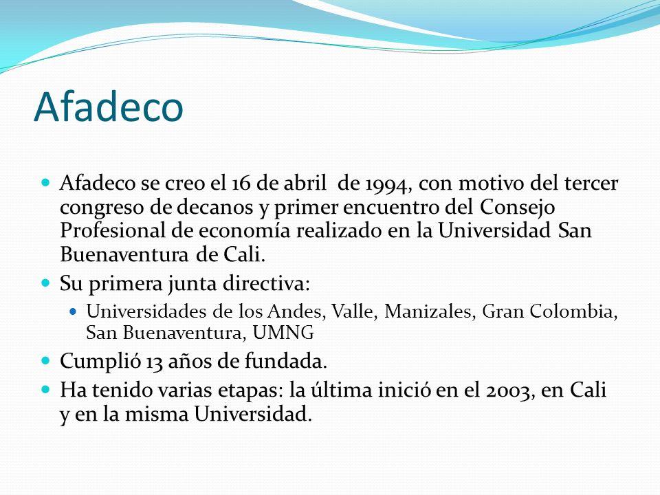 Afadeco Afadeco se creo el 16 de abril de 1994, con motivo del tercer congreso de decanos y primer encuentro del Consejo Profesional de economía reali
