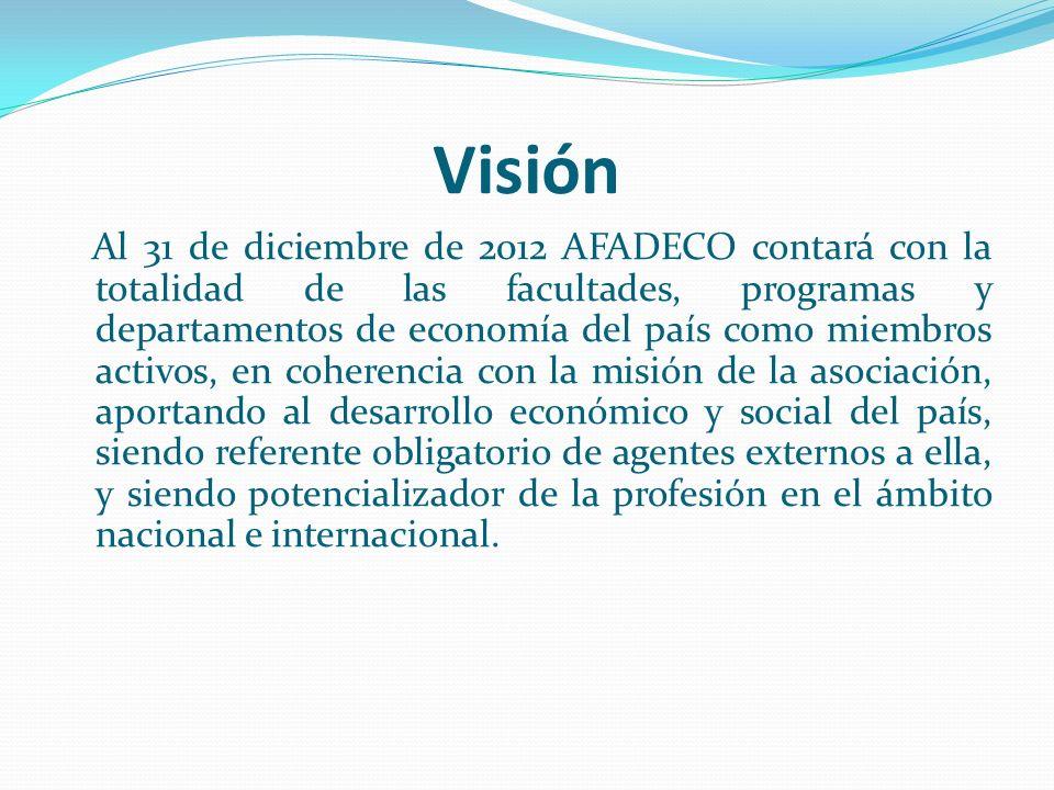 Visión Al 31 de diciembre de 2012 AFADECO contará con la totalidad de las facultades, programas y departamentos de economía del país como miembros act