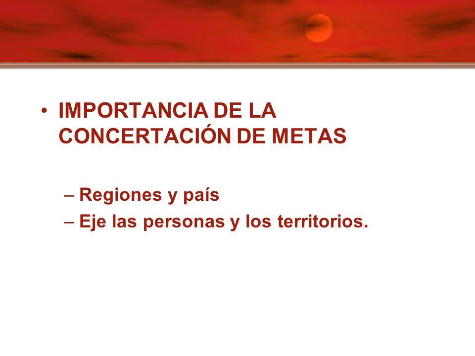 IMPORTANCIA DE LA CONCERTACIÓN DE METAS –Regiones y país –Eje las personas y los territorios.