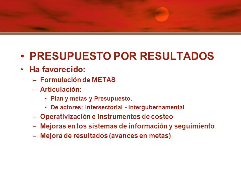 PRESUPUESTO POR RESULTADOS Ha favorecido: –Formulación de METAS –Articulación: Plan y metas y Presupuesto.