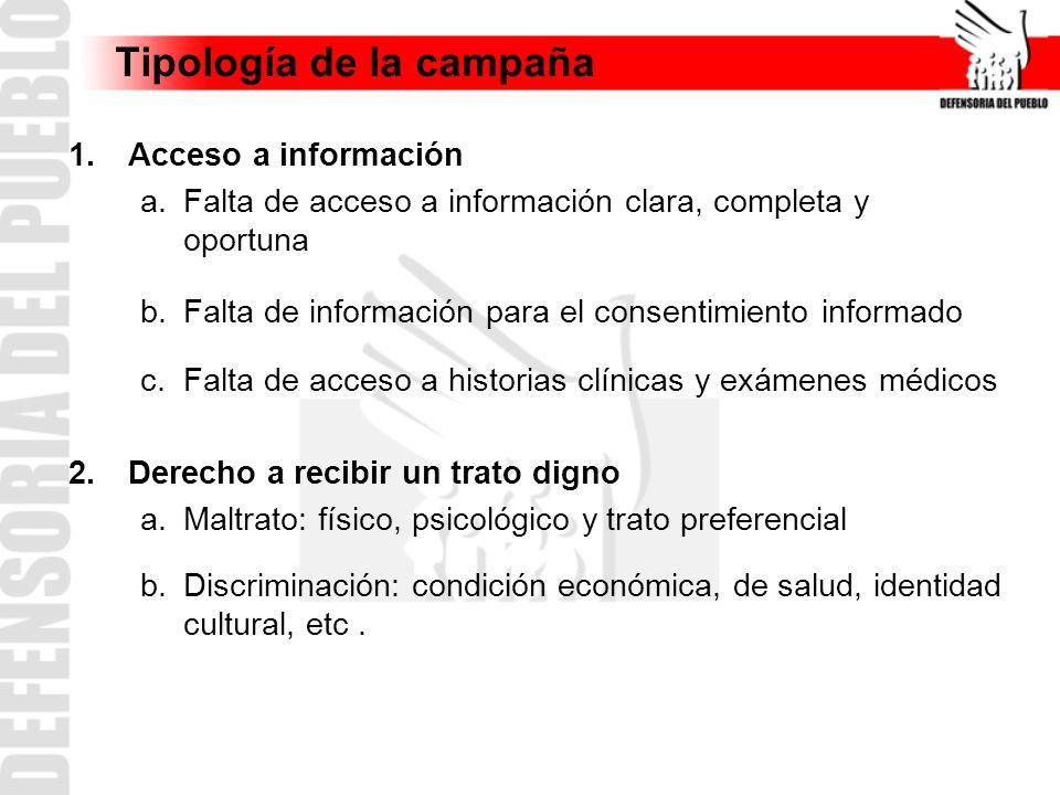 Tipología de la campaña 1.Acceso a información a.Falta de acceso a información clara, completa y oportuna b.Falta de información para el consentimient