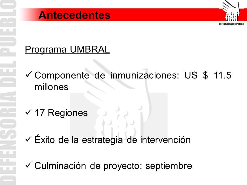 Antecedentes Programa UMBRAL Componente de inmunizaciones: US $ 11.5 millones 17 Regiones Éxito de la estrategia de intervención Culminación de proyec