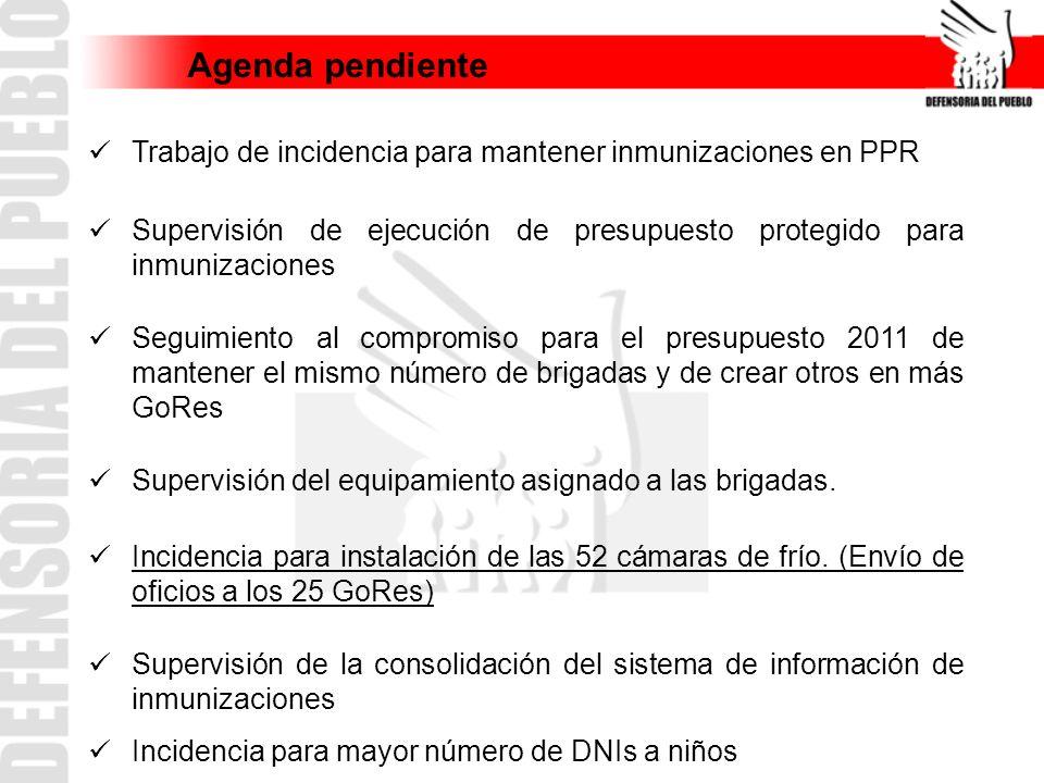 Agenda pendiente Trabajo de incidencia para mantener inmunizaciones en PPR Supervisión de ejecución de presupuesto protegido para inmunizaciones Segui