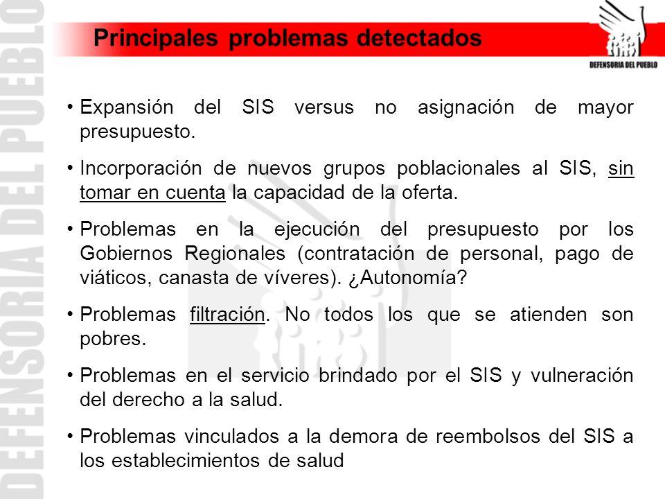 Principales problemas detectados Expansión del SIS versus no asignación de mayor presupuesto. Incorporación de nuevos grupos poblacionales al SIS, sin