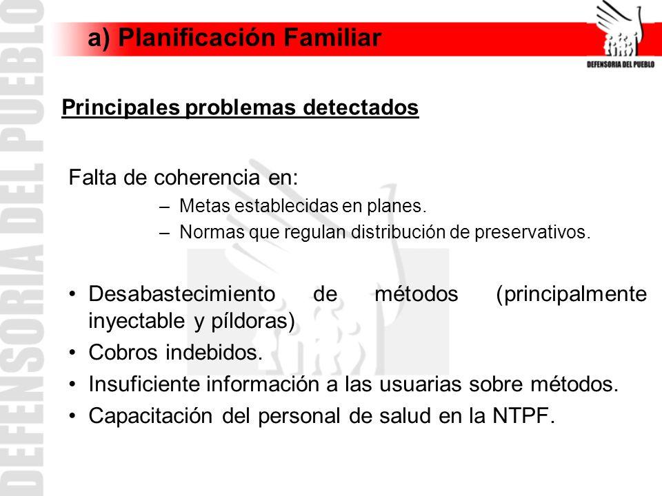 a) Planificación Familiar Falta de coherencia en: –Metas establecidas en planes. –Normas que regulan distribución de preservativos. Desabastecimiento