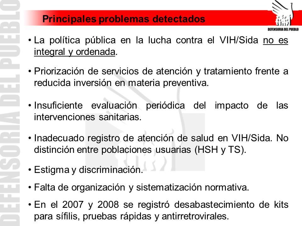 Principales problemas detectados La política pública en la lucha contra el VIH/Sida no es integral y ordenada. Priorización de servicios de atención y