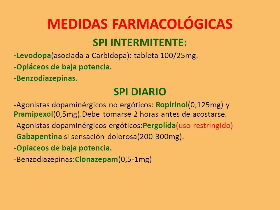 MEDIDAS FARMACOLÓGICAS SPI INTERMITENTE: -Levodopa(asociada a Carbidopa): tableta 100/25mg.