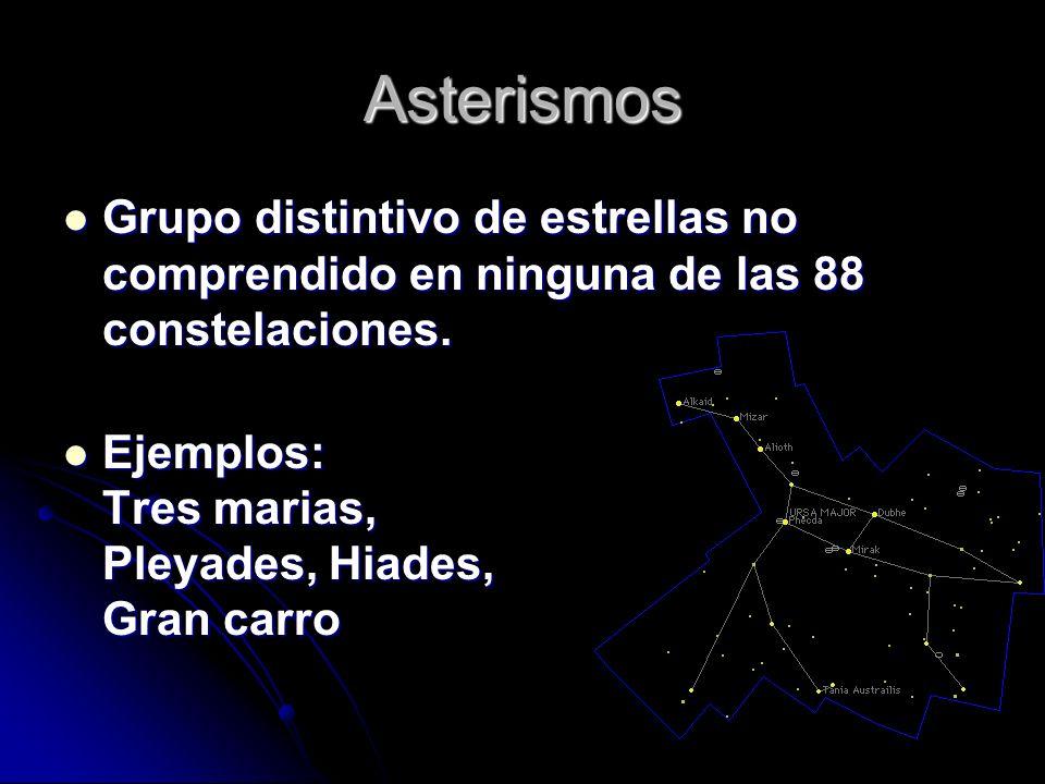 Asterismos Grupo distintivo de estrellas no comprendido en ninguna de las 88 constelaciones. Grupo distintivo de estrellas no comprendido en ninguna d