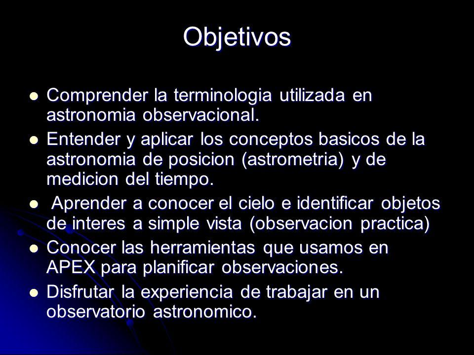 Comprender la terminologia utilizada en astronomia observacional. Comprender la terminologia utilizada en astronomia observacional. Entender y aplicar