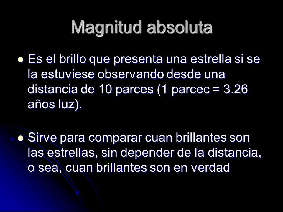 Magnitud absoluta Es el brillo que presenta una estrella si se la estuviese observando desde una distancia de 10 parces (1 parcec = 3.26 años luz). Es