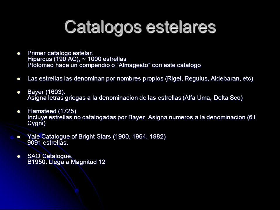Catalogos estelares Primer catalogo estelar. Hiparcus (190 AC), ~ 1000 estrellas Ptolomeo hace un compendio o Almagesto con este catalogo Primer catal