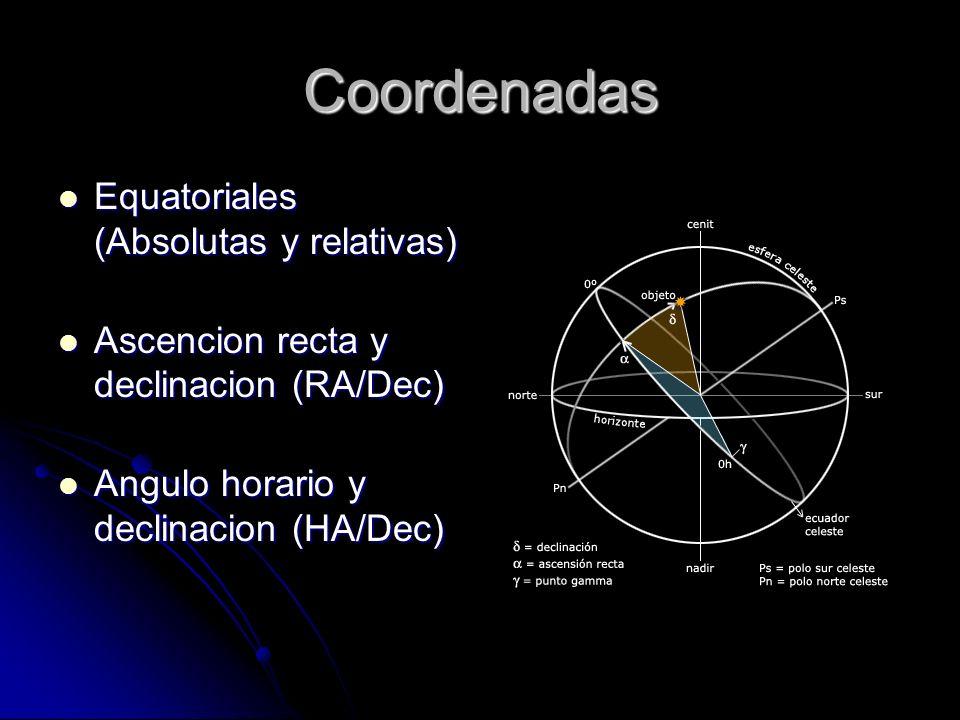 Coordenadas Equatoriales (Absolutas y relativas) Equatoriales (Absolutas y relativas) Ascencion recta y declinacion (RA/Dec) Ascencion recta y declina