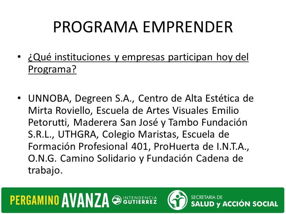 PROGRAMA EMPRENDER ¿Qué instituciones y empresas participan hoy del Programa.