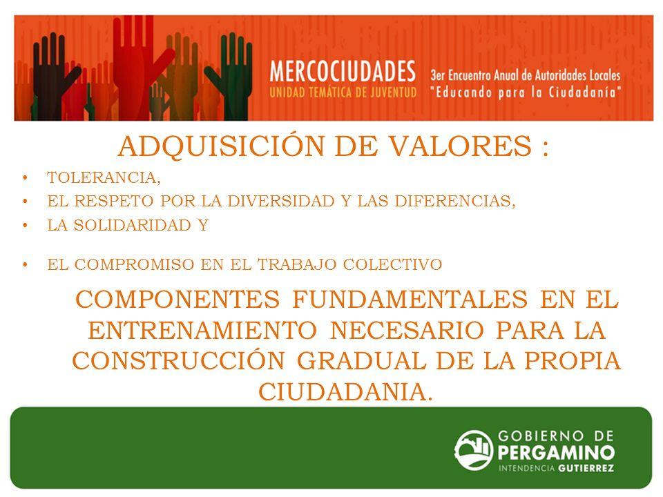 ADQUISICIÓN DE VALORES : TOLERANCIA, EL RESPETO POR LA DIVERSIDAD Y LAS DIFERENCIAS, LA SOLIDARIDAD Y EL COMPROMISO EN EL TRABAJO COLECTIVO COMPONENTES FUNDAMENTALES EN EL ENTRENAMIENTO NECESARIO PARA LA CONSTRUCCIÓN GRADUAL DE LA PROPIA CIUDADANIA.