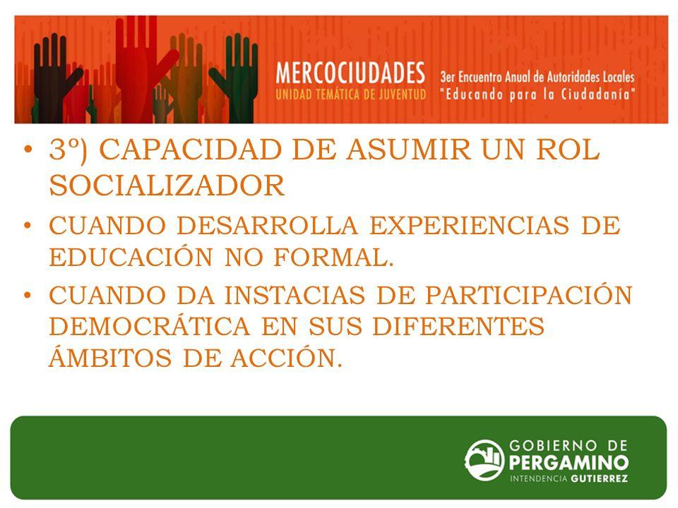 3º) CAPACIDAD DE ASUMIR UN ROL SOCIALIZADOR CUANDO DESARROLLA EXPERIENCIAS DE EDUCACIÓN NO FORMAL.